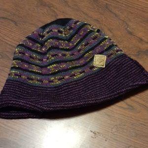 Purple/green striped beanie